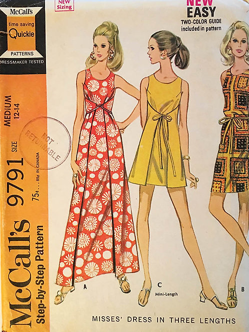 McCall's 9791 Retro 1970s apron wrap dress.