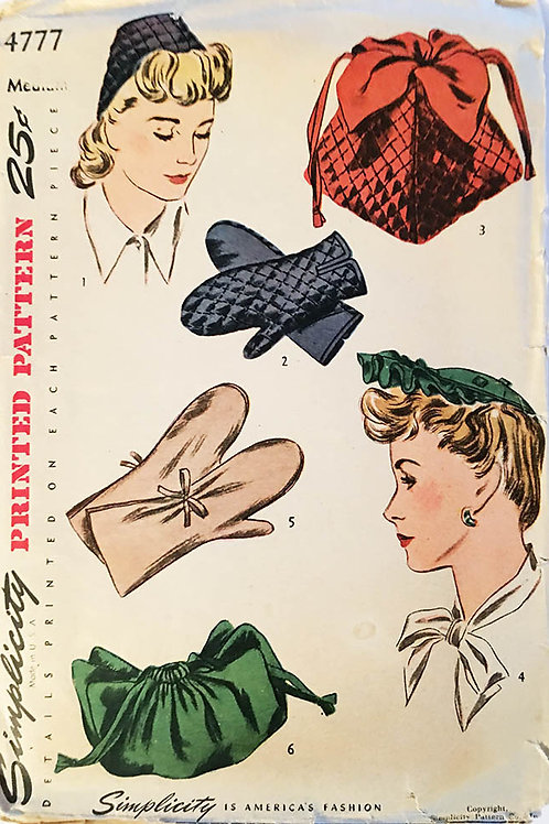 Simplicity 4777; ©1943Hat, Bag and Mittens: