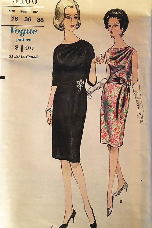 Vogue 5466.Retro1962 super slim Dinner Dress.