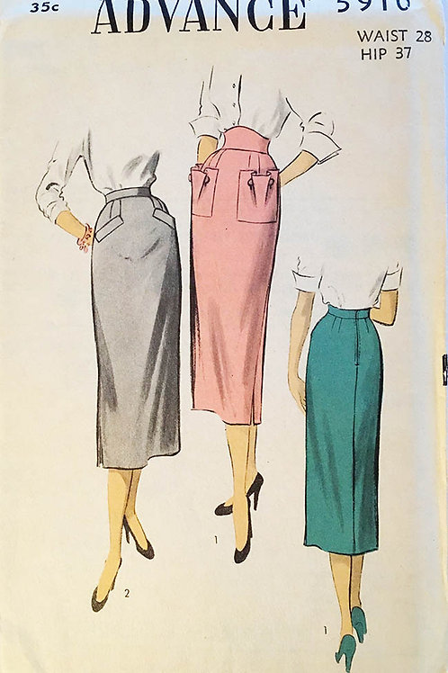 Advance 5910. pencil skirt with shaped pockets.