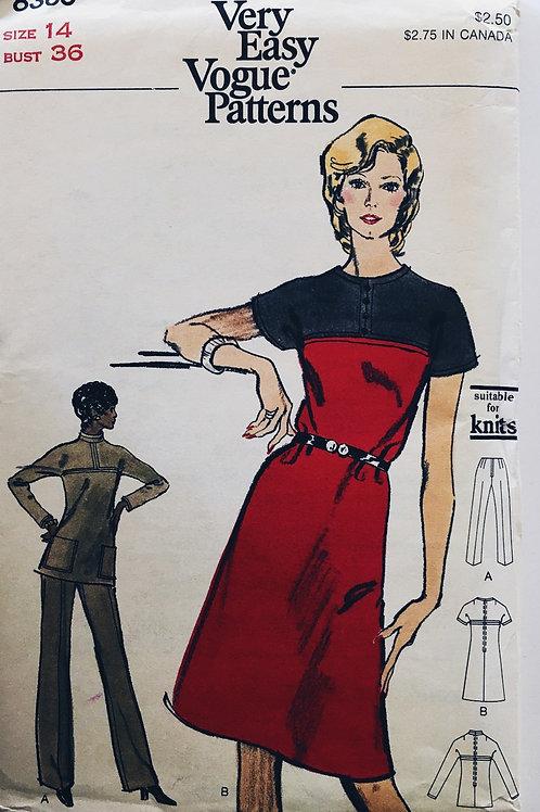 Vogue 8369 Retro 70s Dress, Tunic and Pants.