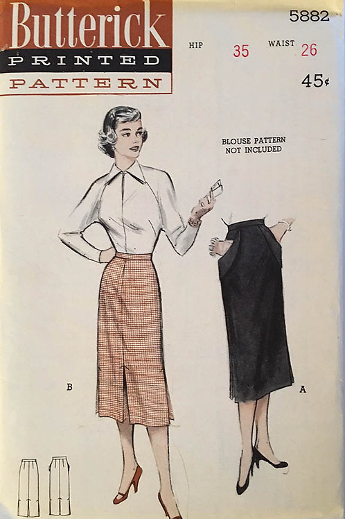 Butterick 5882. Late 1940's skirt patterns.