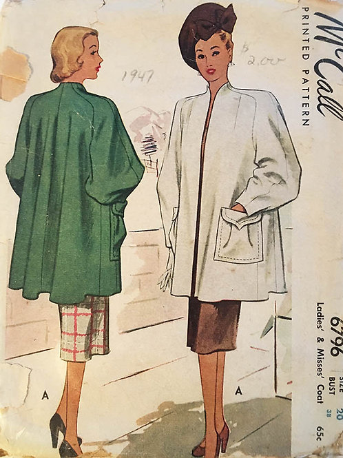 McCall 6796 Retro 1940s Swing Coat Pattern, Plus Size
