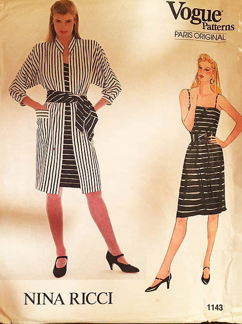 Vogue Paris Original Nina Ricci 1143 Shirt-dress with sash and tank dress