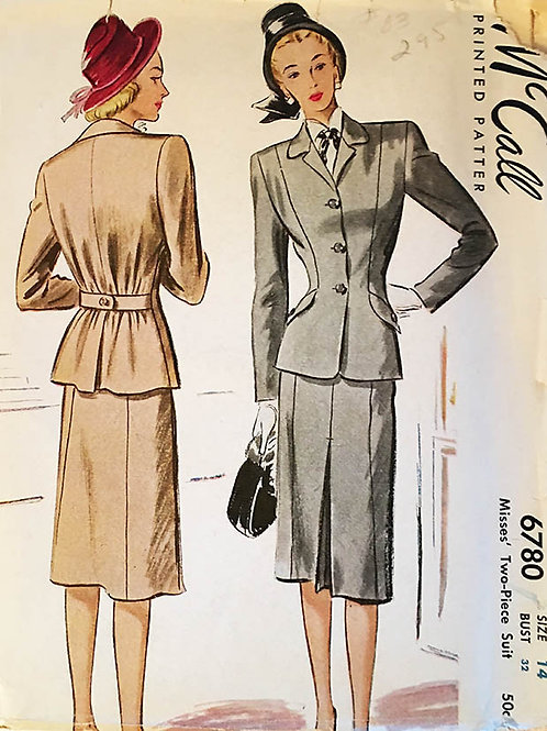 McCall 6780 Vintage 1940s Ladies two-piece suit.