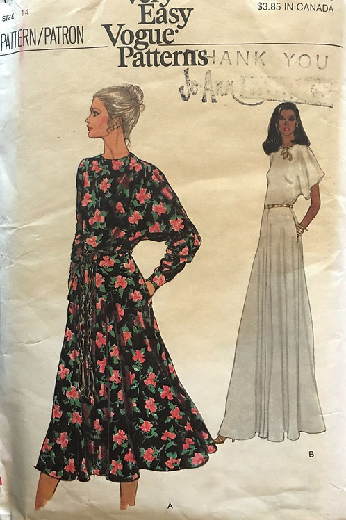 Vogue 7125. Long dress with dolman  or flutter sleeves.