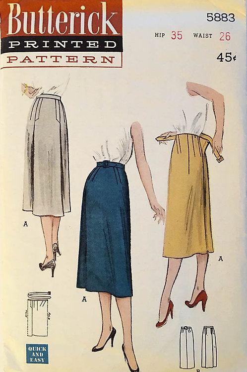 Butterick 5883 , circa 1950s Tubular jersey or one-piece skirt.