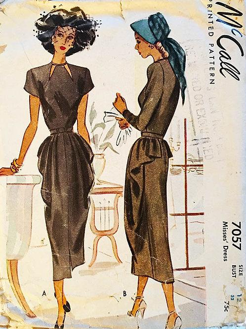 McCall 7057 Vintage Cocktail Dress 1940s