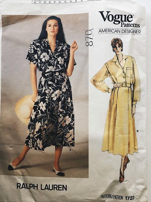 Vogue 1722 Ralph Lauren shirt dress