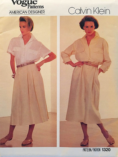 Vogue 1320. Calvin Klein top, trousers and full skirt.
