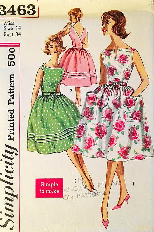 Simplicity 3463 vintage 1960 wrap-around summer dress.