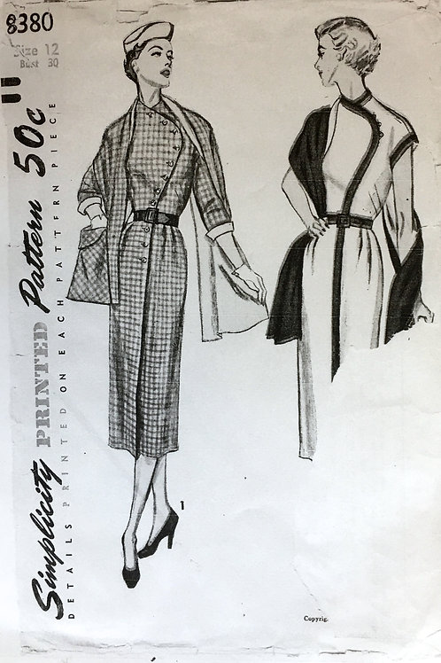 Simplicity 8380 retro 50s dress with stole.