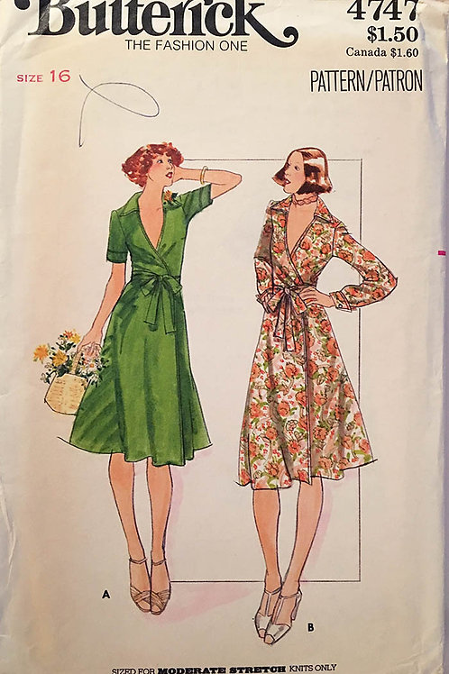 Butterick 4747.1970s; Wrap dress sized for knits