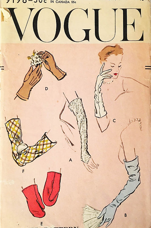 Vogue 9198. Very cool 1940s glove, bridal mitt and mitten styles