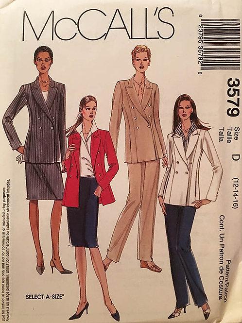 McCall's 3579. Work wear:Jacket, Shirt, Pants, and Skirt.