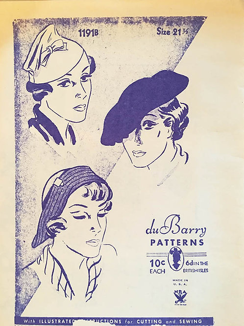 DuBarry Hat Patterns from the 1930s