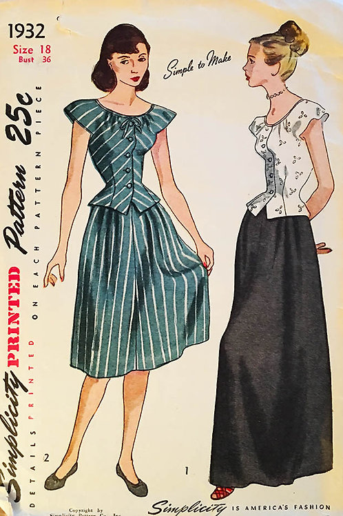 Simplicity 1932. Retro 1950s top and skirt.