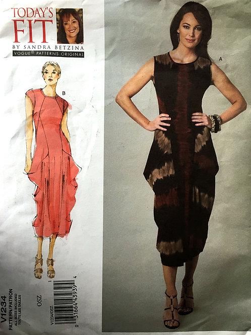 Vogue 1234 Sandra Bettina dress with side drapes