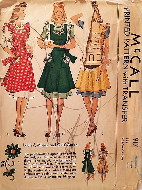 McCall 917 vintage apron pattern from 1941.
