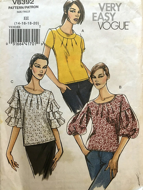 Vogue 8392. Three stylish casual pullover blouse