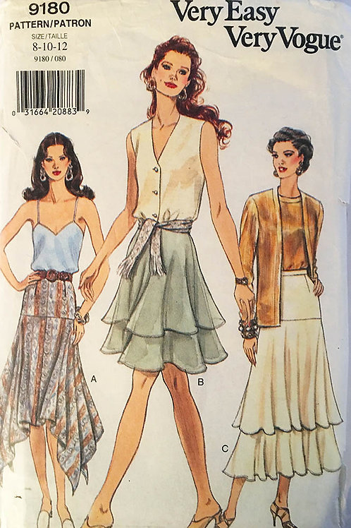 Vogue 9180. Three skirt styles.