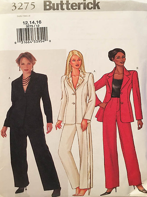 Butterick 3275. Suit separates. Ladies notched blazer and Straight leg