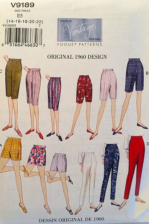 Vogue Vintage Model 9189.More retro 1960Shorts and Tapered Pants.