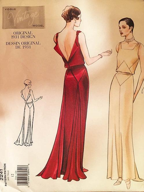 Vogue Vintage 2241, circa 1931 bias evening dress.