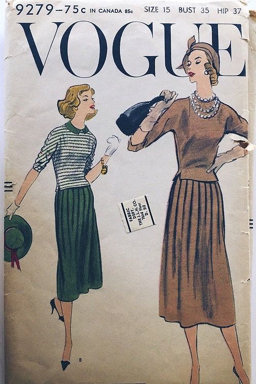 Vogue 9279 overblouse and pleated skirt 1950s retro
