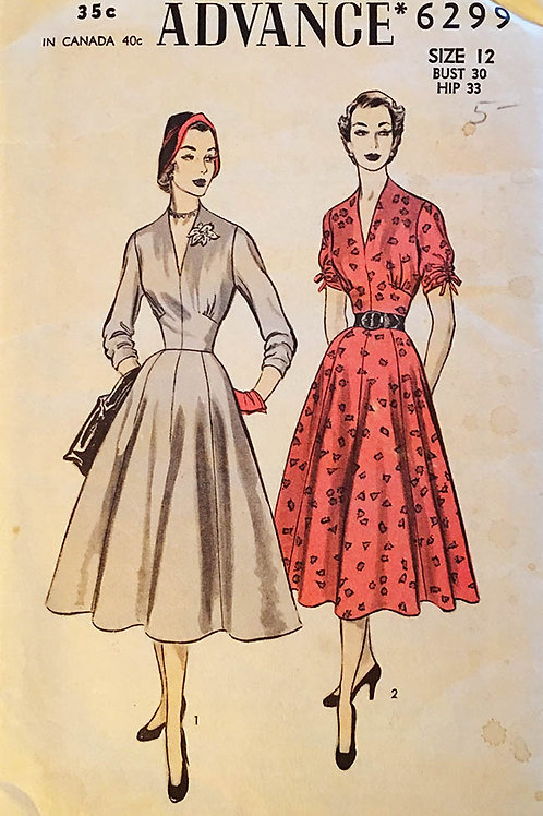 Advance 6299 Dress with full 8-gore skirt
