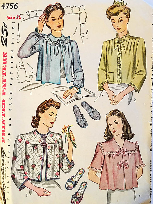Simplicity 4756. 1940s bed jacket and slipper patterns