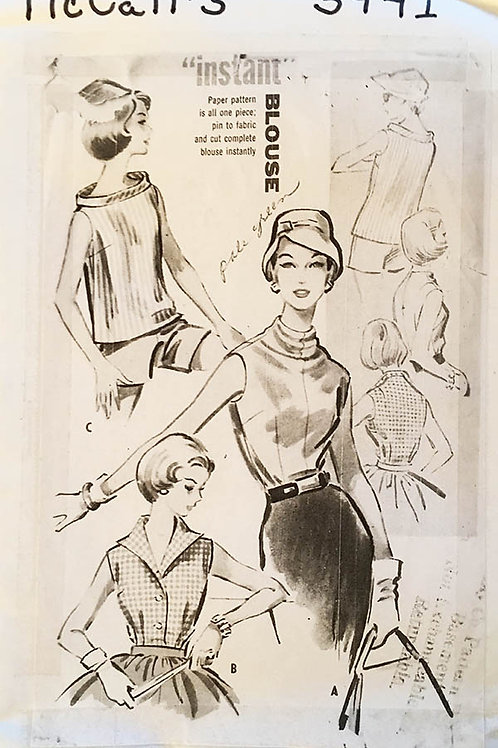 McCall's 3941.Sleeveless blouse variations, 1957.
