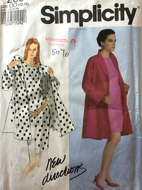 Simplicity 7260 Matching dress and swing coat