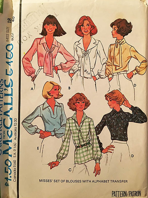 McCall's 5450. Vintage 1970's career blouses.