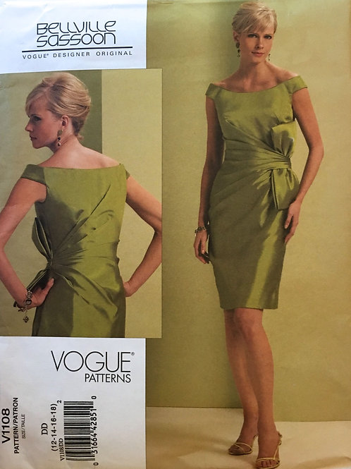 Vogue 1108  Bellville Sassoon. Dress with side gathers,bow.