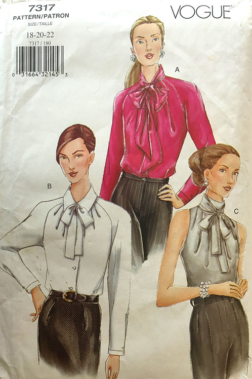 Vogue 7317 Three versions of dress shirts with bow