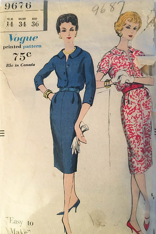 Vogue 9676. Easy-to-Make 1950s shift.
