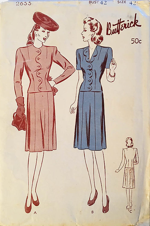 Butterick 2655 RARE forties plus size ladies suits.