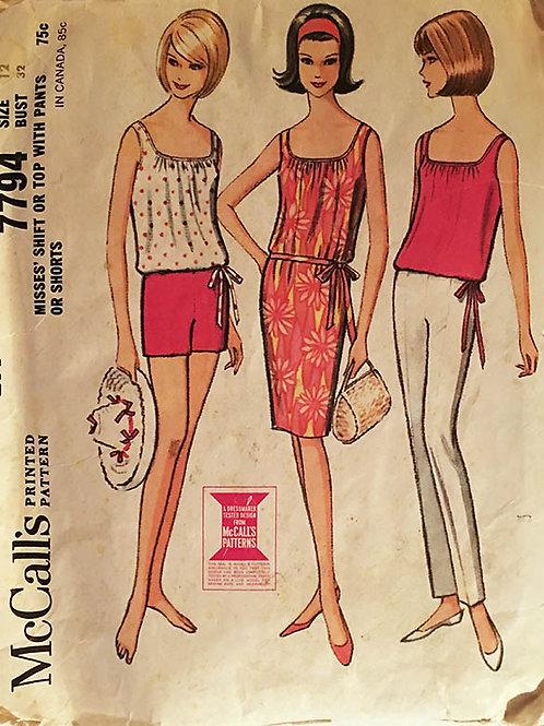 McCall's 7794 Reto 1960s casual summer separates