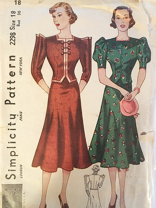 Simplicity 2298. Rare 1930s day dresses with unusual sleeve details.