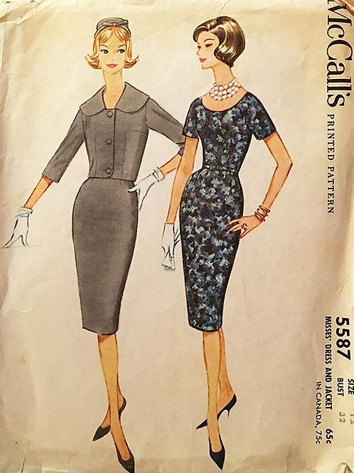 McCall's 5587-- Retro 1960 wiggle Dress and Jacket