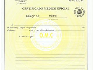 Certificado médico para BUCEO DEPORTIVO