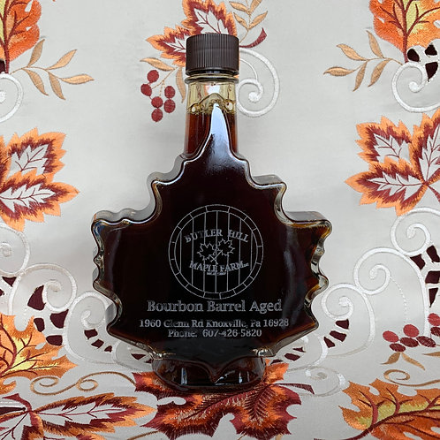 Bourbon Barrel Aged Syrup - 500ml Laser Etched Leaf Bottle