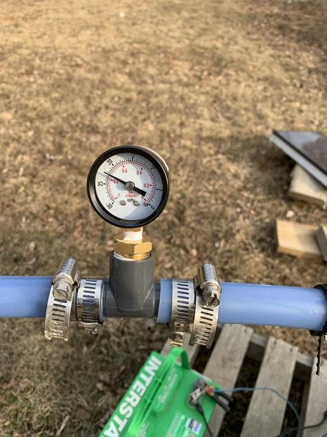 Vacuum gauge on a 12 volt shurflo pump