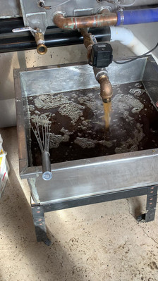 Sap pouring out of the evaporator