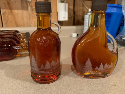 Laser etched Christmas bottles