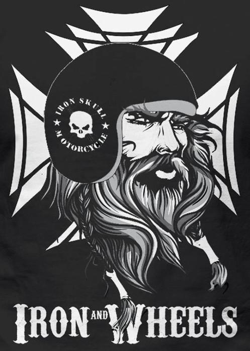 T Shirt Viking Iron Wheels Logo Back