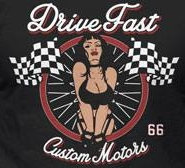 T-Shirt - Drive Fast - Pin-up - LOGO Back piece