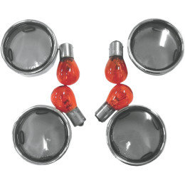 Turn Signal lens KIT - Smoked with chrome trim ring