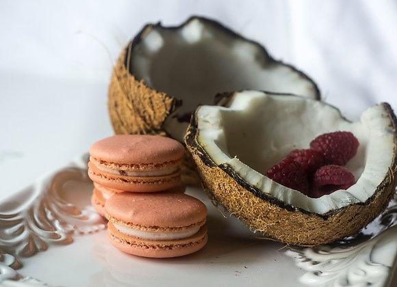 Coconut Raspberry Macaron